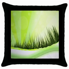 Green Background Wallpaper Texture Throw Pillow Case (black) by Nexatart