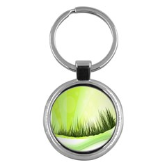 Green Background Wallpaper Texture Key Chains (round)  by Nexatart