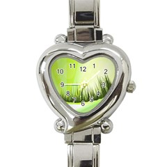 Green Background Wallpaper Texture Heart Italian Charm Watch by Nexatart