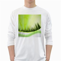 Green Background Wallpaper Texture White Long Sleeve T Shirts