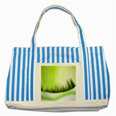 Green Background Wallpaper Texture Striped Blue Tote Bag by Nexatart