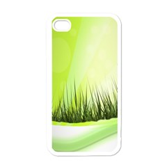 Green Background Wallpaper Texture Apple Iphone 4 Case (white) by Nexatart