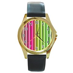 Vertical Blinds A Completely Seamless Tile Able Background Round Gold Metal Watch by Nexatart