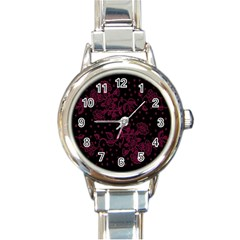 Pink Floral Pattern Background Round Italian Charm Watch