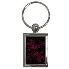 Pink Floral Pattern Background Key Chains (rectangle)  by Nexatart