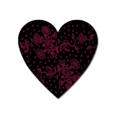 Pink Floral Pattern Background Heart Magnet by Nexatart