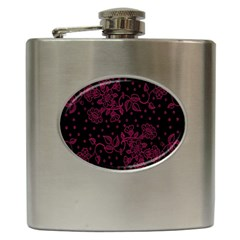Pink Floral Pattern Background Hip Flask (6 Oz) by Nexatart