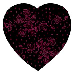 Pink Floral Pattern Background Jigsaw Puzzle (heart) by Nexatart