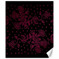 Pink Floral Pattern Background Canvas 8  X 10