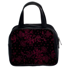 Pink Floral Pattern Background Classic Handbags (2 Sides)