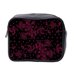 Pink Floral Pattern Background Mini Toiletries Bag 2 Side by Nexatart