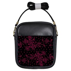 Pink Floral Pattern Background Girls Sling Bags by Nexatart