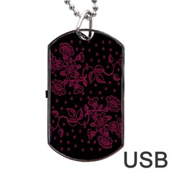 Pink Floral Pattern Background Dog Tag Usb Flash (one Side) by Nexatart