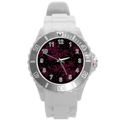 Pink Floral Pattern Background Round Plastic Sport Watch (l) by Nexatart