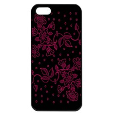 Pink Floral Pattern Background Apple Iphone 5 Seamless Case (black)