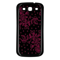 Pink Floral Pattern Background Samsung Galaxy S3 Back Case (black)