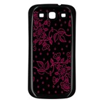 Pink Floral Pattern Background Samsung Galaxy S3 Back Case (Black) Front