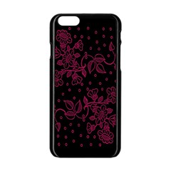Pink Floral Pattern Background Apple Iphone 6/6s Black Enamel Case by Nexatart