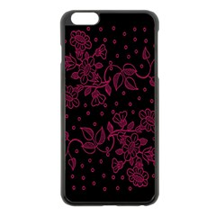 Pink Floral Pattern Background Apple Iphone 6 Plus/6s Plus Black Enamel Case by Nexatart