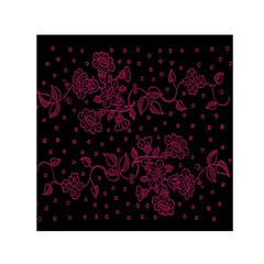 Pink Floral Pattern Background Small Satin Scarf (square)
