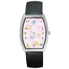 Pretty Summer Garden Floral Bird Pink Seamless Pattern Barrel Style Metal Watch