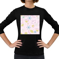 Pretty Summer Garden Floral Bird Pink Seamless Pattern Women s Long Sleeve Dark T Shirts