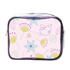 Pretty Summer Garden Floral Bird Pink Seamless Pattern Mini Toiletries Bags by Nexatart