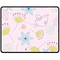 Pretty Summer Garden Floral Bird Pink Seamless Pattern Fleece Blanket (medium)