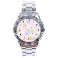 Pretty Summer Garden Floral Bird Pink Seamless Pattern Stainless Steel Analogue Watch