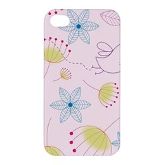 Pretty Summer Garden Floral Bird Pink Seamless Pattern Apple Iphone 4/4s Premium Hardshell Case