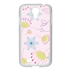 Pretty Summer Garden Floral Bird Pink Seamless Pattern Samsung Galaxy S4 I9500/ I9505 Case (white) by Nexatart