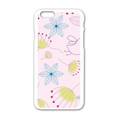 Pretty Summer Garden Floral Bird Pink Seamless Pattern Apple Iphone 6/6s White Enamel Case by Nexatart