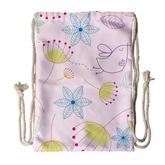 Pretty Summer Garden Floral Bird Pink Seamless Pattern Drawstring Bag (large)
