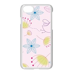 Pretty Summer Garden Floral Bird Pink Seamless Pattern Apple Iphone 7 Seamless Case (white)