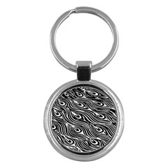 Digitally Created Peacock Feather Pattern In Black And White Key Chains (round)