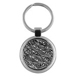 Digitally Created Peacock Feather Pattern In Black And White Key Chains (Round)  Front