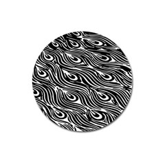 Digitally Created Peacock Feather Pattern In Black And White Magnet 3  (round) by Nexatart