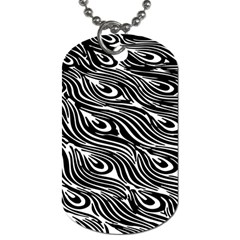 Digitally Created Peacock Feather Pattern In Black And White Dog Tag (two Sides)