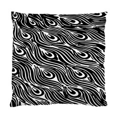 Digitally Created Peacock Feather Pattern In Black And White Standard Cushion Case (one Side) by Nexatart