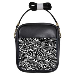 Digitally Created Peacock Feather Pattern In Black And White Girls Sling Bags