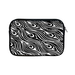 Digitally Created Peacock Feather Pattern In Black And White Apple Ipad Mini Zipper Cases by Nexatart