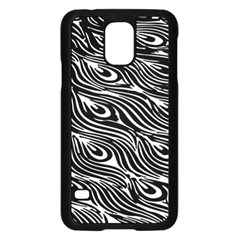 Digitally Created Peacock Feather Pattern In Black And White Samsung Galaxy S5 Case (black) by Nexatart
