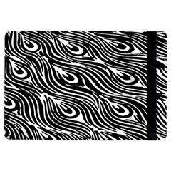 Digitally Created Peacock Feather Pattern In Black And White Ipad Air 2 Flip by Nexatart