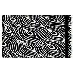 Digitally Created Peacock Feather Pattern In Black And White Apple Ipad Pro 12 9   Flip Case