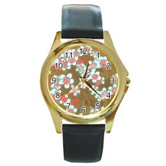 Lovely Floral 29 A Round Gold Metal Watch by MoreColorsinLife