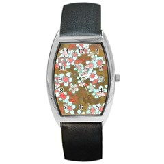 Lovely Floral 29 A Barrel Style Metal Watch