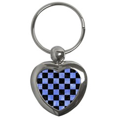 Square1 Black Marble & Blue Watercolor Key Chain (heart) by trendistuff