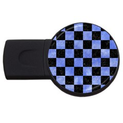 Square1 Black Marble & Blue Watercolor Usb Flash Drive Round (2 Gb) by trendistuff