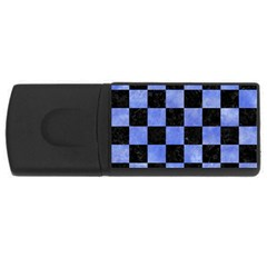 Square1 Black Marble & Blue Watercolor Usb Flash Drive Rectangular (4 Gb) by trendistuff