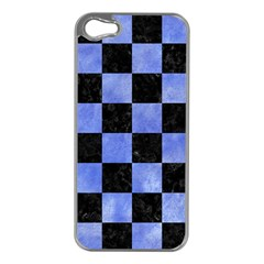 Square1 Black Marble & Blue Watercolor Apple Iphone 5 Case (silver) by trendistuff